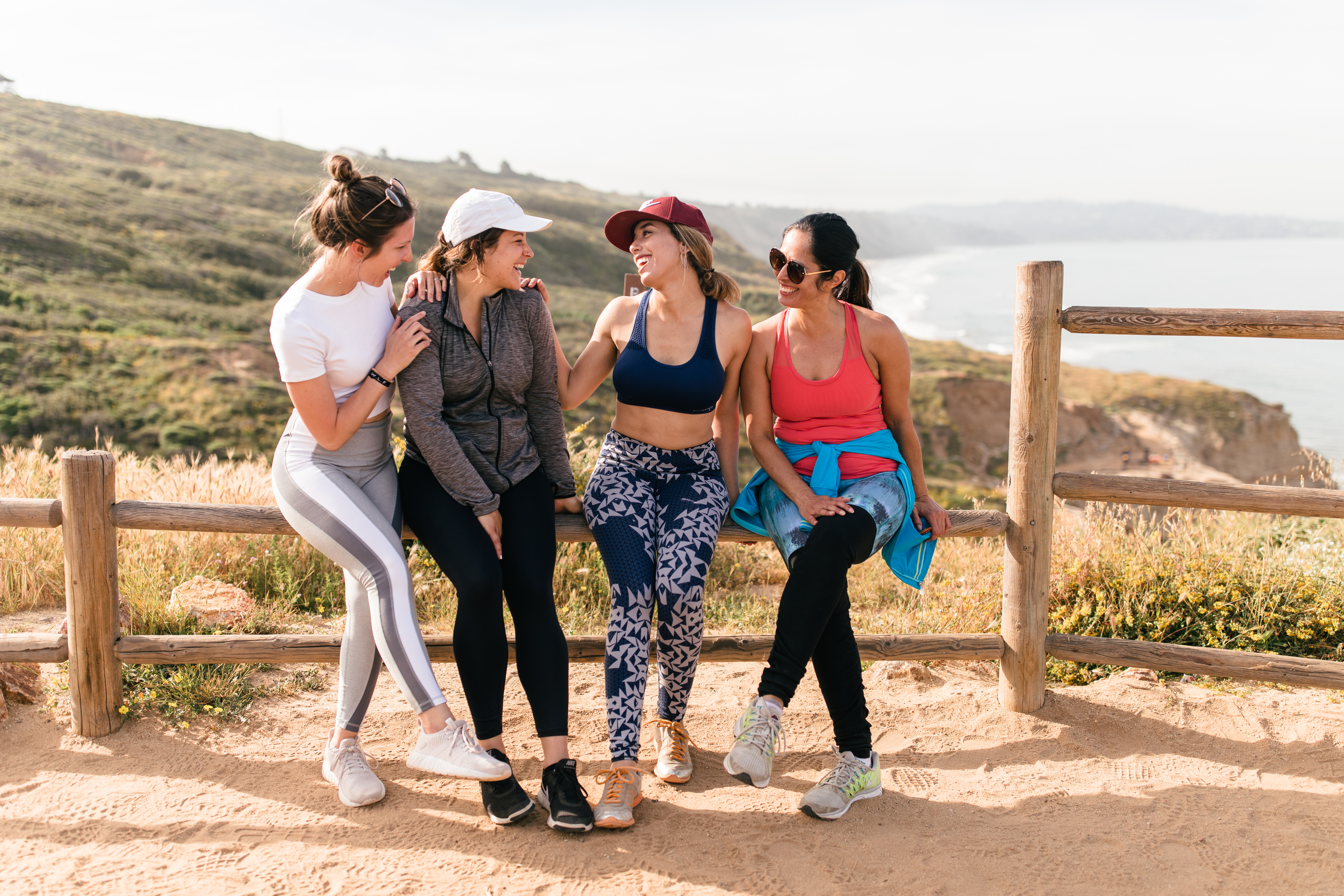 happy friends community at a hike